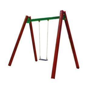 Huśtawka łańcuchowa pojedyncza drewniana na plac zabaw