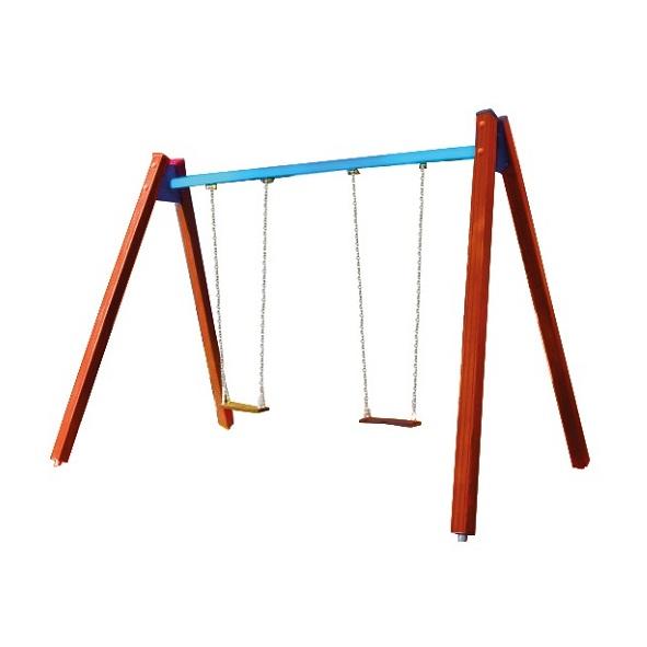 Huśtawka łańcuchowa podwójna drewniana na plac zabaw