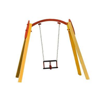 Huśtawka pojedyncza drewniana dla małych dzieci na plac zabaw