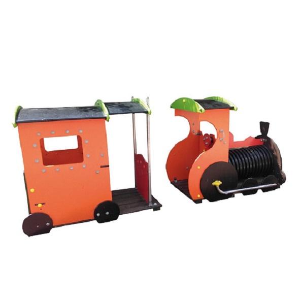 Pociąg z wagonikiem dla małych dzieci na plac zabaw